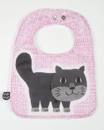 cat bib in pink